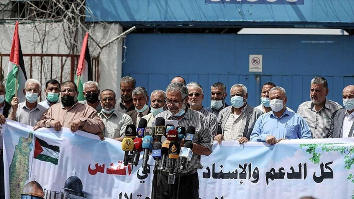 Gazzelilerden İsrail'in müdahalelerine maruz kalan Kudüs'le dayanışma gösterisi