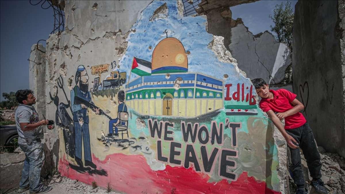 İdlibli grafiti sanatçısı Aziz'den Filistin halkına destek