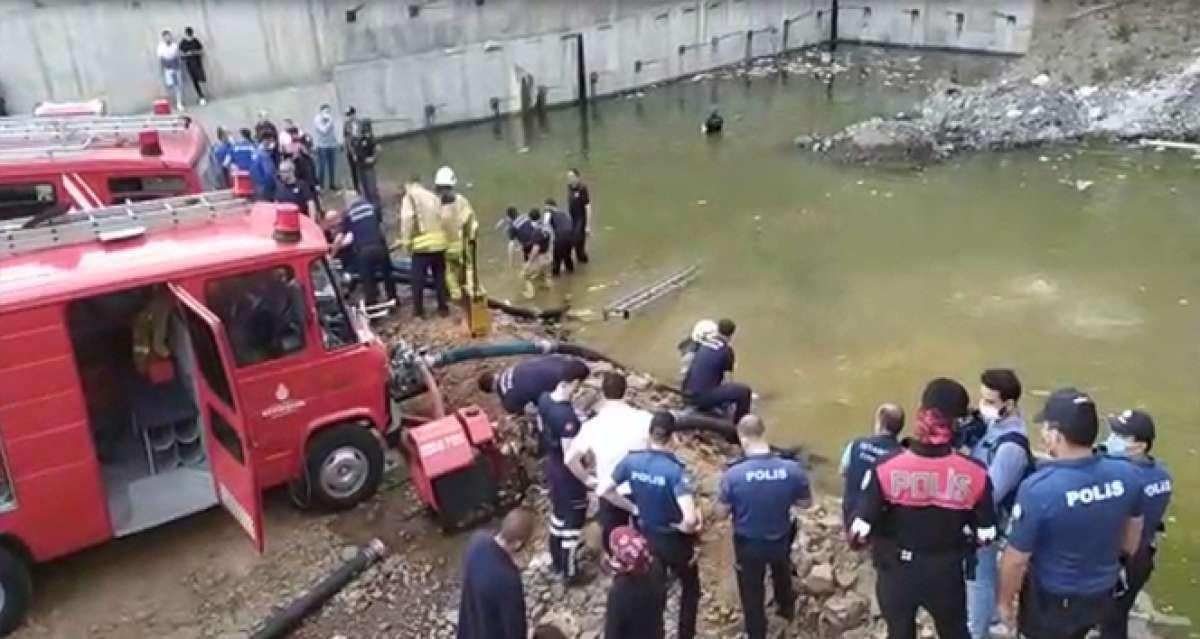 Kağıthane'de feci olay: İnşaattaki gölette boğulma tehlikesi geçiren çocuğu dalgıçlar kurtardı