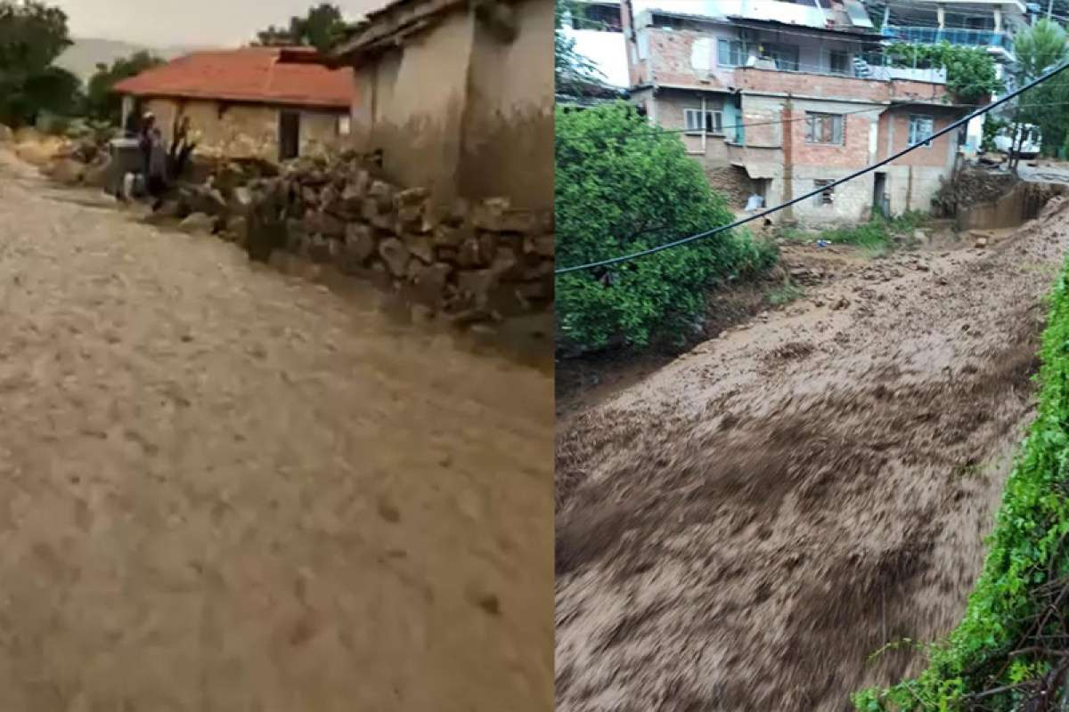 Şiddetli yağış köydeki yolları dereye çevirdi