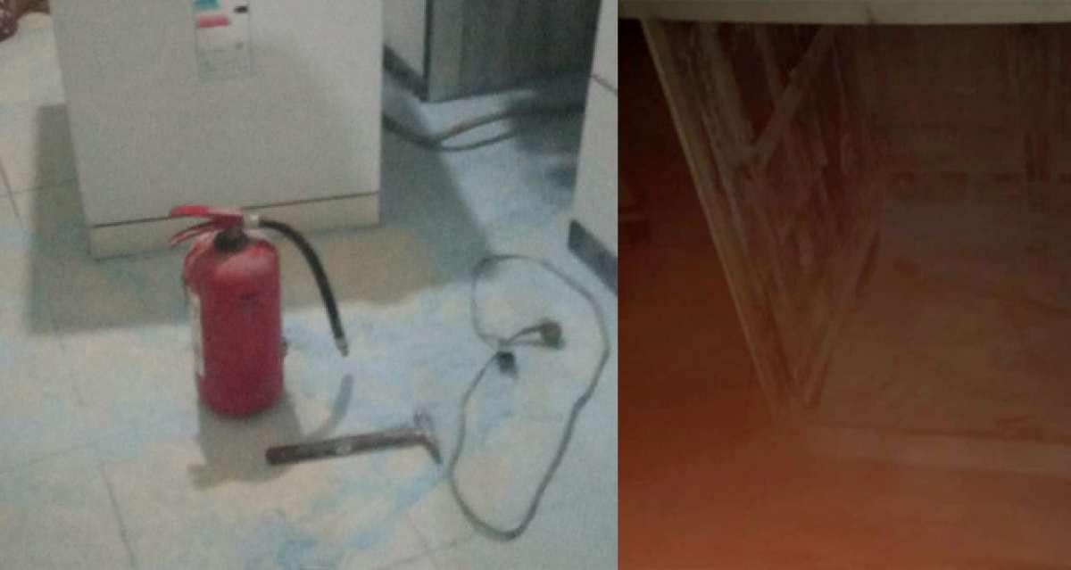Yangın tüpü sayesinde evini yanmaktan kurtardı